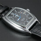 Luxury Automatic Leather Band Mens Mechanical Wrist Watch Rectangle Steel Case