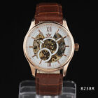 Fashion Men Rose Golden Steel Case Fine Skeleton Dial Golden Automatic Watch A2