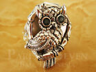 Stunning Night Owl Carving Topaz White Shell Bali Sterling Silver 925 Ring M605