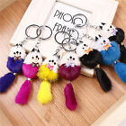 Charm Key Ring Fox Fur Ball pompom Cell Phone Car Keychain Pendant Handbag