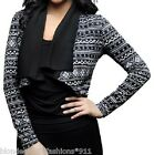 Black/Gray Cropped Long Sleeve Scarf Drape Front Shrug/Cover-Up Cardigan