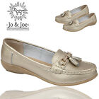 LADIES JO&JOE WOMENS GENUINE LEATHER LOAFERS SLIP ON OFFICE WORK CASUAL SHOES UK
