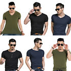 Fashion Mens Tee Shirt Slim Fit V Neck Short Sleeve Muscle Casual Tops T Shirts,