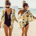 Women Casual Open Stitch Loose Floral Printed Sunscreen Cardigan Ladies Blouse