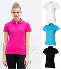 Ladies Womens Stretch Short Sleeve Pique Polo Shirt - Slim Fit