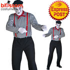 K384 Mime Mens Costume French Artist Clown Circus Fancy Dress Up Marcel Marceau