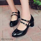 Womens Girls Buckle Patent Leather Round toe Mid Block Heel Shoes Plus Size 10.5
