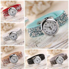 Luxury Women Crystal Weave Bangle Wrap Lady Dress Quartz Wristwatch Bracelet