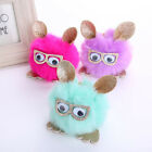 Fluffy Fur Glitter Glass Owl HandBag Pendant Charm Pompom Ball Keychain Key Ring