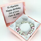 Womens Jewellery Pink Bracelet PERSONALISED BOX 18th 21st 40th BIRTHDAY Gifts