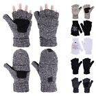 Unisex Winter Mittens Knit Fingerless Fliptop Thermal Fleece Gloves Suede Grips