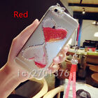 Bling Glitter Quicksand Hourglass Soft Back Phone Dynamic Cover Case & strap F