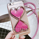 Bling Glitter Quicksand Hourglass Soft Back Phone Dynamic Cover Case & strap K