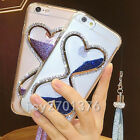 Bling Glitter Quicksand Hourglass Soft Back Phone Dynamic Cover Case & strap M