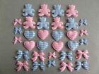 *16* GINGHAM FABRIC EMBELLISHMENTS *BLUE or PINK* GINGHAM TEDDIES, BOWS & HEARTS