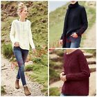 NEW NEXT LADIES JUMPER CREAM NAVY BURGUNDY KNIT CABLE SLOUCHY WINTER XS S M L XL