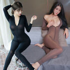 Women Lingerie Bodysuit Zipper Jumpsuit Longsleeve Bodycon Sleepwear Costume