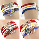 Fashion Jewelry Leather Cute Infinity Charm Silver Bracelet lots Style Pick
