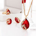 Pendant Necklace Ring Earring Plated Gold Austrian Crystal 3 Piece Set Newlywed
