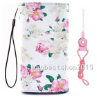 #4 NEW Cartoon Flower Leather slots wallet pouch bag cover case with 2 straps #h