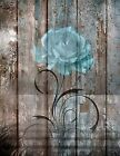 Brown Blue Rustic Rose Flower Modern Home Decor Wall Art Matted Picture
