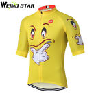 Yellow Smile Shirt Cycling Jersey Men Weimostar Summer Short Sleeve Clothing Top