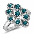 Women's 5/8ct Vintage Treated Blue Diamond Right Hand Ring Solid 14K White Gold