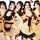 Native Indian Ladies Fancy Dress Western Cowboys & Indians Womens Costumes New