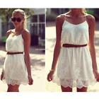 Women Sexy Flower Floral Lace Casual Spaghetti Strap Short Mini Dress B20E