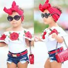2Pcs Cute Toddler  Kids Girls Flower Tops Denim Shorts Pants Outfits ClothesSH