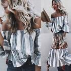 New Fashion Women Casual Slash Neck Off the Shoulder 3/4 Sleeve Striped B20E