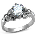 TK2767 SOLITAIRE SPARKLING SIMULATED DIAMOND ENGAGEMENT RING STAINLESS STEEL