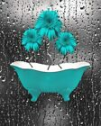 Teal Gray Bathroom Wall Pictures, Daisy Flowers In Bathtub Home Decor Picture