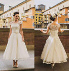2018 Cap Sleeves Tea Length Short Weddign Dress Bridal Gowns Deb Party Dress