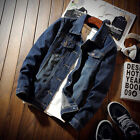 Outerwear Men Slim Fit Classic Thicken Lapel Coat Jean Biker Denim Jacket O1306