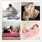 New Handmade Chunky Knitted Blanket Wool Thick Line Yarn Merino Throw Home Decor