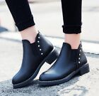Womens Round toe PU Leather Low Block Heel Ankle Boots Pull on Chelsea Boots SZ