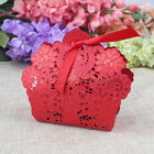 10/50PCS Red Rose Laser Cut Hollow Candy Box With Ribbon Wedding Favor Gift Bags