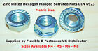M4 M5 M6 M8 HEXAGON SERRATED STEEL ZINC PLATED FLANGE NUTS, NUT BZP CL8 DIN 6923