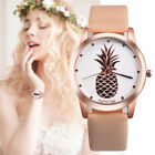 Ladies Women Watch Pineapple Print Dial Faux Leather Analog Quartz Wristwatches