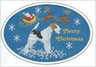 Wire Haired Fox Terrier Christmas Card Embroidered by Dogmania