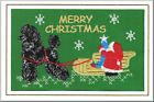 Standard Poodle Christmas Card Embroidered by Dogmania