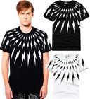 Men Shirt Short Sleeve Pullover Lightning Bolt T-Shirt Black White