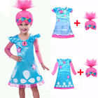 Poppy Trolls Costumes Headband Hair Wig Princess Child Girls Dresses Set Cosplay image