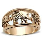 Stainless Steel Rose Gold IP Zoo Elephant Citrine Yellow Crystal Ring Sizes 5-10