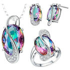 925 Silver Beauty Rainbow Sapphire Rings Necklace Pendant Earring Jewelry Set