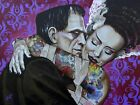 Undying Love by Mike Bell Frankenstein Monster Lovers Tattoo Canvas Art Print