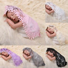 Newborn Baby Toddler Ball Tassel Lace Flower Wrap Blanket Photo Photography Prop