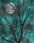 Teal Gray Modern Tree Moon Home Decor Wall Art Matted Picture