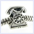Sterling Silver Classic Antique Telephone Phone Bead for European Charm Bracelet